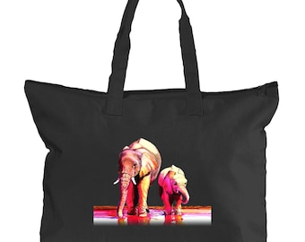 Elephants on Black Canvas Zippered Tote