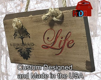 Choose Life wall decor is designed, built and hand painted by BJ and Bailey
