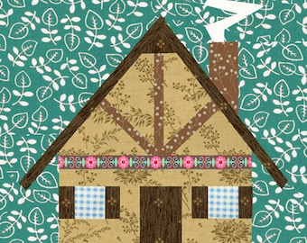 Grandma's House quilt block, paper pieced quilt pattern, PDF pattern, instant download, house pattern, cottage pattern