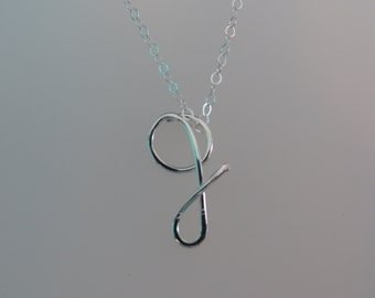 Sterling Silver lower case initial necklace, personalized, fine silver, sterling silver, Valentine's day gift.