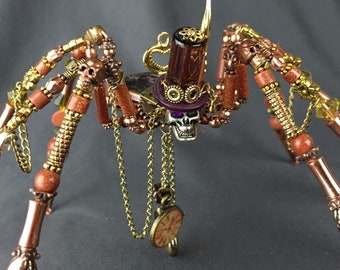 Beaded  Steampunk Spider Sci-Fi Goth Crystal Sandstone Top Hat