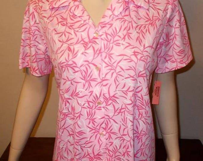 Vintage 70s MOD Graff Californiawear Pink Polyester Floral Leaf Womens Short Sleeve Summer Blouse Top