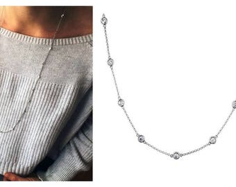 """36"""" CZ's Cubic Zirconia By The Yard 25 Station Necklace .925 Sterling Silver 4.5 TCW 3 mm Round Bezel Set"""