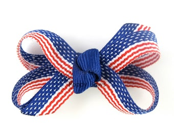 4th of July Hair Bow - Baby Hair Bow - Extra Small Bow - Boutique Bow - July 4th Hair Clip - American Flag Hair Bow - Mini Snap Clip Infant