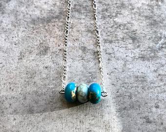 16 Inch 3 Bead Impression Jasper Necklace