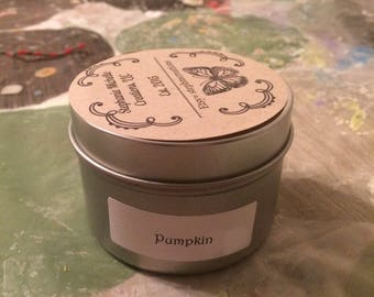 Pumpkin 4 ounce Small Tin Soy Candle