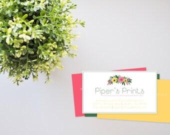 Floral Business Cards Printable, Printable business cards, Printable art, Professional design print