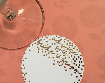 Gold foiled 'advice for the bride and groom' coasters (Pk-20)