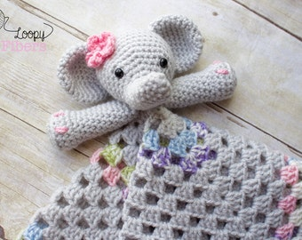 Crochet Elephant Lovey/ Crochet Security Blanket/ Baby Girl Lovey/ Comfort Blanket / Baby Elephant Blanket/ Photo Prop /  Made to Order