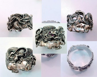 14K white gold DRAGON ring 16mm wide 16 grams of gold with diamond or ruby eyes