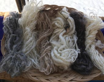 Handspun art yarn sampler for weaving. Lockspun, natural colours