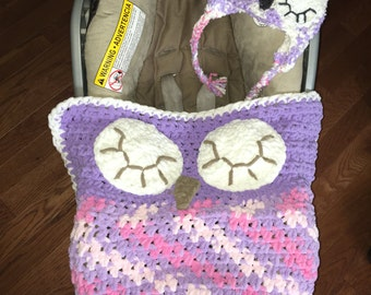 Owl Car Seat Cover, cozy car seat blanket, cozy car seat cover and matching hat, newborn car seat cover, preschool car seat blanket,