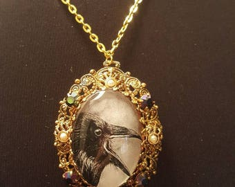 Upcycled vintage crow raven rhinestone glass cameo necklace