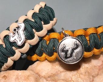 University of South Florida Bulls Paracord Bracelet, USF Bulls, New pendants finally