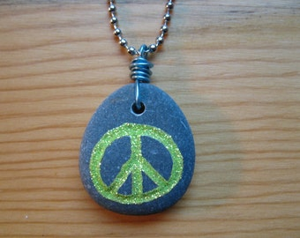 Peace and Love Stone Necklace