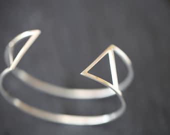 Doubled triangle cuff bracelet .silver cuff bracelet. Sterling silver cuff bracelet.