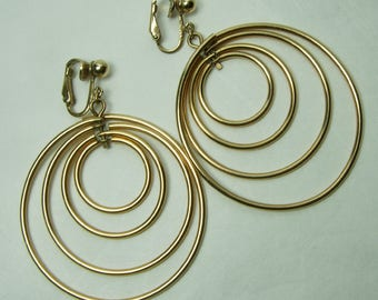 1960s Mod Kinetic Earrings Geometric Circles 12KT Gold Filled 2.5 Inches Modernist Earrings