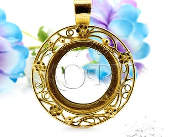 1pcs Brass Bezel Setting Pendant for 24mm Cabochon, Flower Romantic Style, Made in Israel, Shiny Brass Color, Top Quality, 1752BR