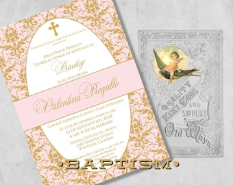 Printed Elegant Spanish Baptism Invitations Pink and Gold Baby Girl Bautizo Invitación Damask - Custom Christening Invites with Envelopes