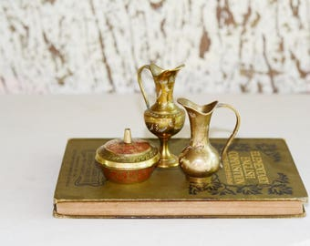 Vintage Miniature Brass Container Collection Home Decor