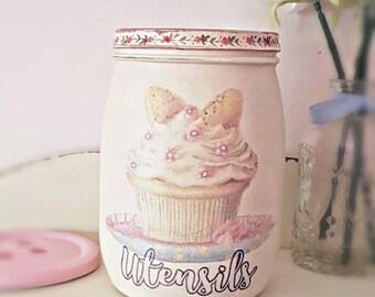 Utensil holder, utensil jar, kitchen storage, shabby chic kitchen, pretty kitchen storage, gift for new home, gift for her. Cup cake decor
