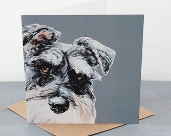 Schnauzer Fine art card, dog gift card, schnauzer dog lover