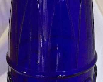 A stunning vintage textured glass vase/ bottle in cobalt blue.