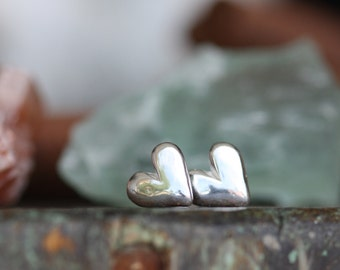Sterling Silver hand sculpted Heart earrings with sterling posts