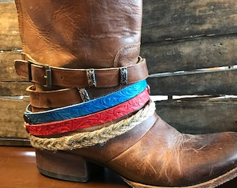 Colorful boot cuffs.