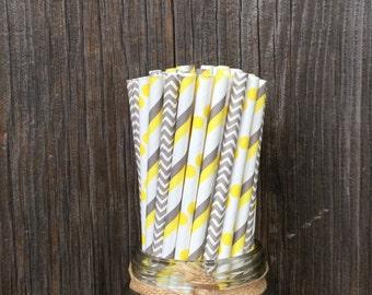 Yellow Gray Paper Straws, 100 Yellow Gray Stripe, Yellow Dot Straws, Wedding Decor, Baby Shower, Birthday, Paper Straws, Free Shipping