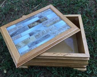 Handmade wooden oak keepsake box for storage/jewelry