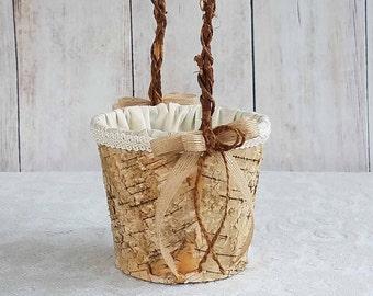 Round Rustic Birch Flower Girl Basket for your Wedding