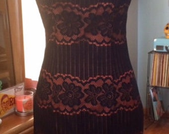 MAD MEN Style 1960's Black/ Brown Lace Dress by Mr. Simon