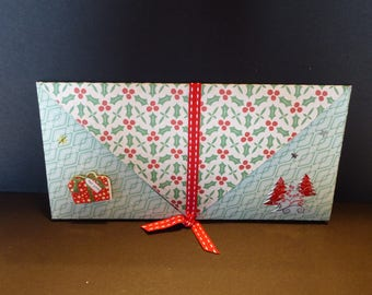 Example green and Red Christmas card or check envelope