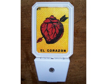Loteria night light retro vintage Mexico kitsch rockabilly lighting decor