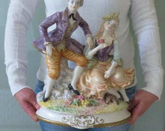 "15"" Large Vintage Rare Capodimonte Figurine Couple Signed Man and Woman"