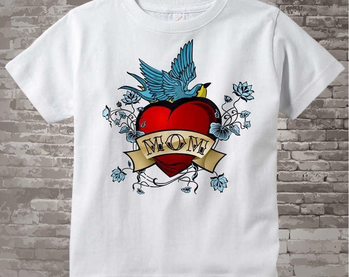 Boy's Mother's Day Mom Tattoo Shirt for kids and adults, Tattoo Heart Shirt, Personalized Tattoo Heart t-shirt kids and adults 01182011a