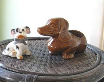 Made-in-Japan Vintage Ceramic Dachshund Dog Planter/Statue/Supply Holder + Black Puppy Figurine w/ Flocked Ribbon; Retro Dog Gifts
