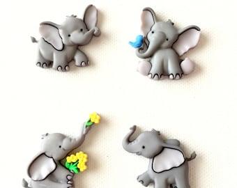 Elephant Magnets, Elephant Thumbtacks, Tiny Trunks, Cute, Fridge Magnets, Push Pins, Neodynium Magnets