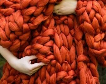 CHUNKY KNIT Blanket, Arm Knit Blanket, Merino Wool Blanket, Super Chunky Blanket,Handmade, Basket weave
