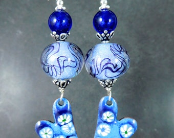 Floral Blue Heart Long Dangle Enamel & Glass Earrings, Periwinkle Blue Dichroic Cobalt Blue Murano, Boho Jewelry Enameled Copper Unique OOAK