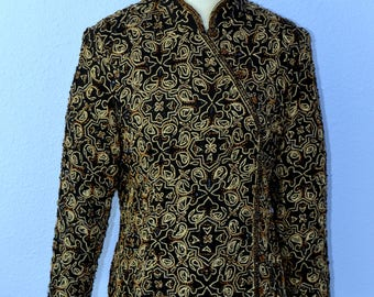 Vintage Beaded Black and Gold 100% Silk Top - XL