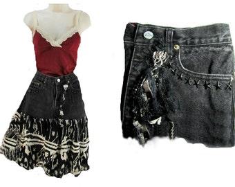 Black skirt, upcycled denim skirt -Denim skirt, Designer skirt,, Size Jr 9 skirt,    # 4