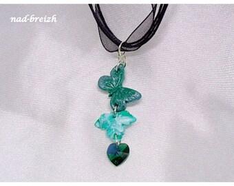 White maple leaf + Swarovski heart Butterfly emerald green polymer clay - handmade
