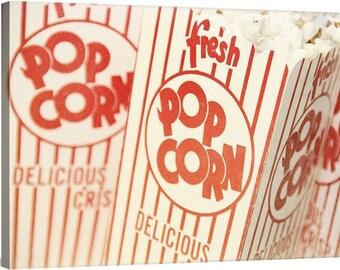 popcorn art print // mid century modern kitchen // kitchen canvas art // restaurant art - Fresh Pop, ready-to-hang kitchen art canvas