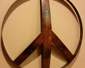 Wine barrel peace sign