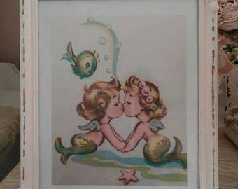 Darling kissing vintage baby mermaids in 8 x 11 standing frame