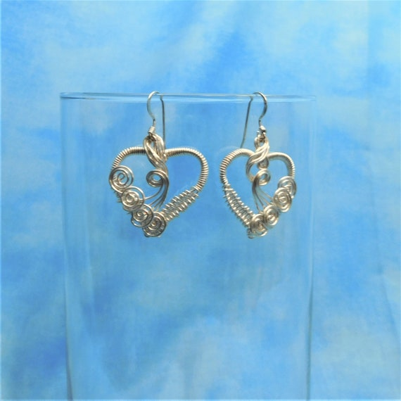 Wire Jewelry Heart Earrings Girlfriend Gift for Wife Artistic Handmade Artisan Crafted Wearable Art Dangles Present for Her Daughter Mother