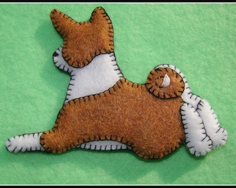 Basenji Puppy Christmas Ornament-Magnet combination. Handmade embroidered felt-original design-Great doggie gift for any occasion.