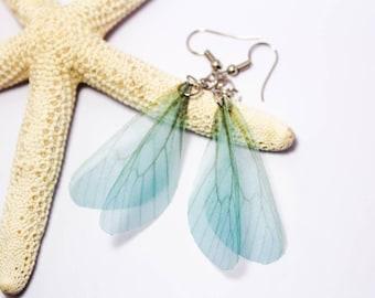 Dangle Wing Earrings, Butterfly Wing Earrings, Fairy Wing Earrings, Blue Wing Earring, Nature Jewelry, Gift for Her, Girlfriend, Mom,